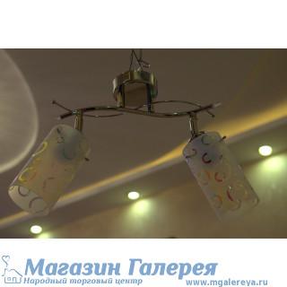 Серебристая люстра с двумя лампами 016 KR/2 CR WT