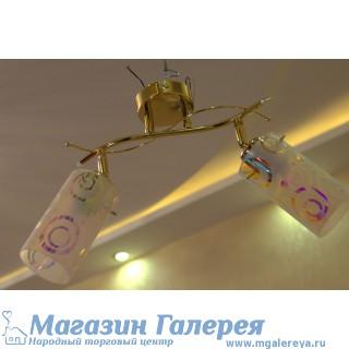 Люстра под золото на 2 лампы 016 KR/2 GD WT