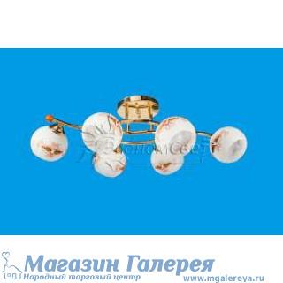 Люстра 0574/6 gd wt с обычными лампами Е27 золото и дерево