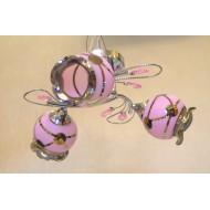 Недорогая люстра для спальни с тремя розовыми плафонами. Модель 0936/3