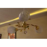 Простая люстра под золото с тремя лампами. Модель 33748/3
