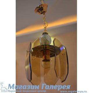 Люстра для кухни 605/1 бронзовое стекло
