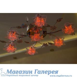 Красивая люстра с семью галогенными лампами и светодиодной подсветкой. 6617/7