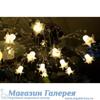 Люстра c галогенными лампами с пультом. Цвет хром. 12 ламп. Модель 80044/12