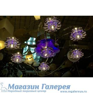 Люстра 8258/6+1 галогенные лампы хром с пультом