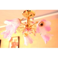 Розовая люстра на пять ламп. Модель 8700/5 GD PK