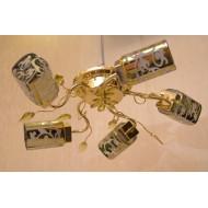 Люстра для зала 962 A /5 с обычными плафонами под золото.