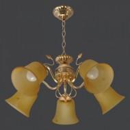 Люстра 0494/5 gd wt с обычными лампами Е27 золото и дерево