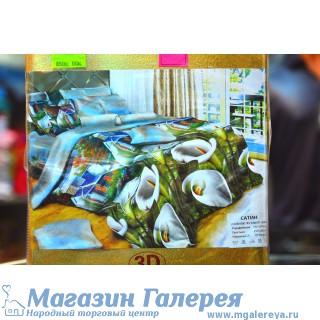 Полутораспальный комплект постельного белья с белыми цветами